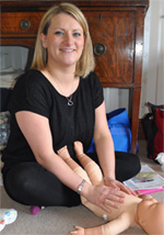 Claire Orpwood instructing at Bedfordshire Baby Massage sessions
